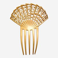 Art Deco French ivory hair comb signed Kroko hair ornament