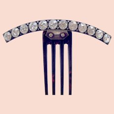 Victorian hinged hair comb with large crystal stones hair ornament