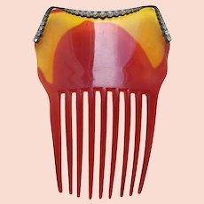 Victorian Spanish style hair comb with rhinestone trim hair ornament