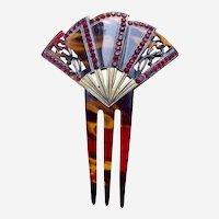 Art Deco hair comb fan shape red rhinestone trim hair accessory