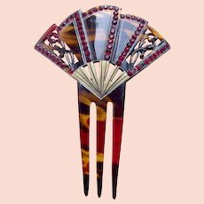 Art Deco hair comb fan shape red rhinestone trim hair accessory