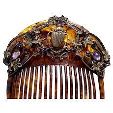 Scarab design Egyptian Revival Victorian hair comb hair accessory