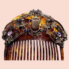 Scarab design Egyptian Revival Victorian hair comb hair accessory