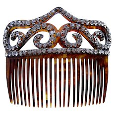 Victorian hair comb faux tortoiseshell with rhinestone trim hair ornament
