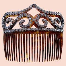 Victorian hair comb faux tortoiseshell with rhinestone trim hair ornament
