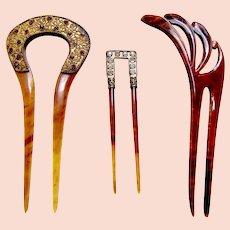Three vintage early 20th century hair pins hair accessories