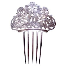 Tiffany signed Art Nouveau hair comb sterling silver hair accessory