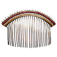 Regency fire gilded metal hair comb with coral and beaded trim