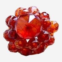 Late Victorian brooch aesthetic period faceted amber beads
