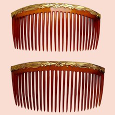 Matched pair hair combs Victorian blonde celluloid hair accessories