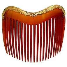 Late Victorian hair comb blonde celluloid hair ornament
