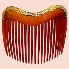 Late Victorian hair comb blonde celluloid hair ornament