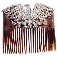 Victorian rhinestone set eagle hair comb hair accessory
