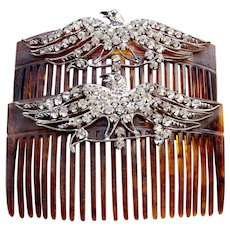 Matched pair rhinestone eagle combs hair accessories
