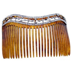 Late Victorian hair comb with rhinestone border hair ornament