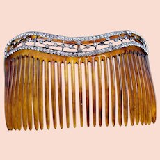 Late Victorian hair comb with rhinestone border hair ornament