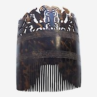 Sumba (Indonesia) tortoiseshell hair comb with carved figures (AAG)