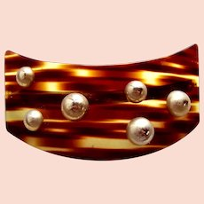 Edwardian large faux tortoiseshell hair barrette hair ornament