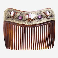 Victorian hair comb cameo embellished faux tortoiseshell hair accessory