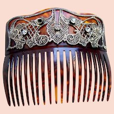 Late Victorian hair comb with rhinestone embellishment hair ornament