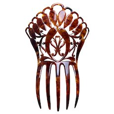 Victorian faux tortoiseshell hair comb large Spanish style hair ornament