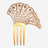 Art Deco French ivory hair comb asymmetric design hair ornament