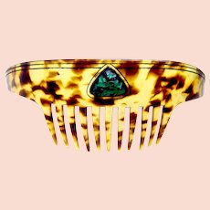 Art Deco bandeau comb turquoise cabochon hair accessory