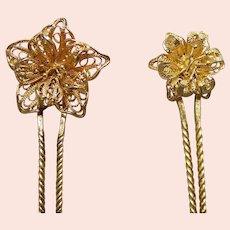 Late Victorian filigree flower hair pin hair accessory (AAE)