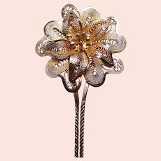 Late Victorian filigree flower hair pin hair accessory (AAG)