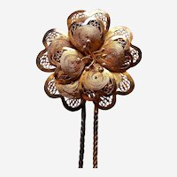 Late Victorian filigree flower hair pin hair accessory (AAH)