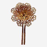 Late Victorian filigree flower hair pin hair accessory (AAL)