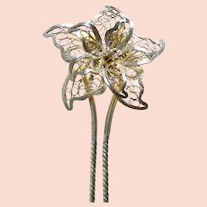 Late Victorian filigree flower hair pin hair accessory (AAP)