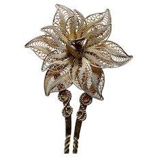 Late Victorian filigree flower hair pin hair accessory (AAR)
