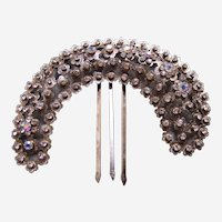 Vintage Java hair comb antiqued silver tone filigree hair accessory