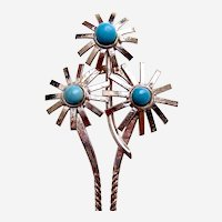 Vintage Java hair pin silver tone flowers blue cabochons hair accessory