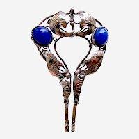 Vintage Java hair pin silver tone metal blue glass stones hair accessory