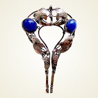 Vintage Java hair pin silver tone metal blue glass stones hair accessory