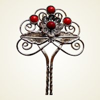 Vintage Java hair pin silver tone metal red glass stones hair accessory (AAE)
