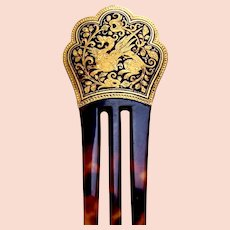 Late Victorian hair comb with damascene dragon embellishment