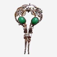 Vintage Java hair pin silver tone metal green glass stones hair accessory