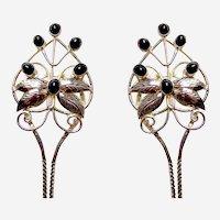 2 Vintage Java Indonesia hair pins silver tone metal hair accessory