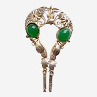 Vintage Java hair pin silver tone metal green glass stones hair accessory (AAV)