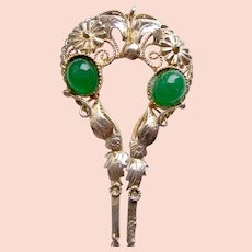 Vintage Java hair pin silver tone metal green glass stones hair accessory (AAV)