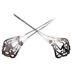2 Vintage Java hair pin silver tone openwork design hair accessory (AEB)