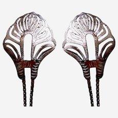 2 Vintage Java hair pin silver tone metal openwork design hair accessory (ADT)