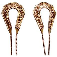 2 Vintage Java hair pins gold tone hoops design hair accessory (ABP)