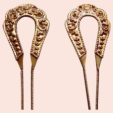 2 Vintage Java hair pins gold tone hoops design hair accessory (ABP)