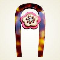 Vintage Japanese kanzashi hair pin floral design hair comb