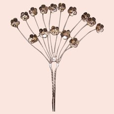 Vintage Java hair comb gold tone metal aigrette style hair accessory