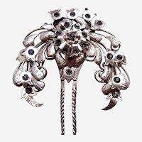 Vintage Java hair comb antiqued silver tone metal lotus hair accessory